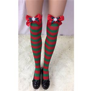 Cute Christmas Stockings, Sexy Thigh Highs Stockings, Red and Green Stripes Cosplay Stockings, Anime Thigh High Stockings, Christmas Red and Green Stripes Stockings, Stretchy Nightclub Knee Stockings, #HG18533