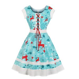 Vintage Dress for Women Blue, Christmas Dresses for Women Cocktail Party, Casual Swing Dress, Short Sleeves High Waist Swing Dress, Christmas Reindeer Print Dress, Christmas Party Dress, #N18378