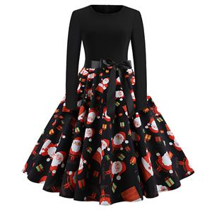 Vintage Dress for Women Snowflake, Christmas Dresses for Women Cocktail Party, Casual Swing Dress, Long Sleeves High Waist Swing Dress, Santa Claus Print Dress, Christmas Party Dress, #N18575