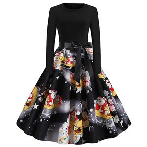 Vintage Dress for Women Santa Claus, Christmas Dresses for Women Cocktail Party, Casual Swing Dress, Long Sleeves High Waist Swing Dress, Christmas Santa Claus Print Dress, Christmas Party Dress, #N19630