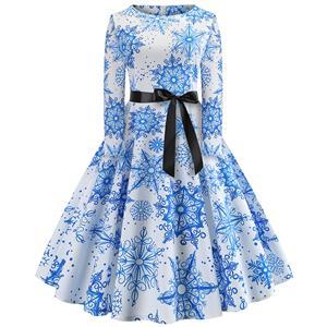 Fashion Snowflake Pattern Long Sleeves Round Neckline High Waist Christmas Midi Dress N18570