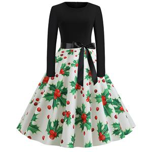 Fashion Cherry Pattern Splice Long Sleeves Round-Neck High Waist Christmas Swing Dress N19632