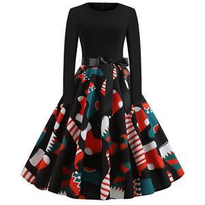 Fashion Dress for Women,Christmas Dresses for Women,Casual Swing Dress,Long Sleeves High Waist Swing Dress,Christmas Socks  Pattern Dress,Christmas Party Dress,Round-neck Big Swing Dress,#N19633