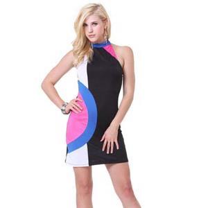 Sexy Casual Dress, Fashion Colorful Dress, Women