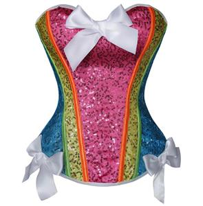 Brilliant Sequin Overbust Corset, Rainbow Sequin Overbust Corset, Colourful Sparkle Overbust Corset, Multicolored Halloween Patry Corst, Cheap Overbust Corset, #N10024