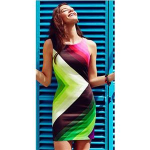 Colorful Party Dress, Sleeveless Package Hip Dress, Rainbow Appointment Dress, #N9263