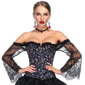 Outerwear Corset for Women, Fashion Body Shaper, Cheap Shapewear Corset, Womens Bustier Top, Steel Boned Corset, Black Corset for Women, Stylish Floral Print Corset, #N18639