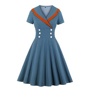Vintage Double-breasted Lapel Short Sleeve High Waist Midi Dress N20137