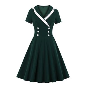 Retro Rockabilly Picnic Swing Dress, Fashion Casual Double-breasted Dress, Fashion Casual Office Lady Dress, Sexy Midi Dress, Retro Party Dresses for Women 1960, Vintage Dresses 1950