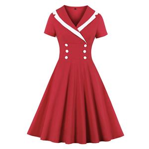 Vintage Classic Double-breasted Lapel Short Sleeve Cotton High Waist Midi Dress N20140