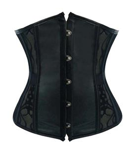 Fashion Black Faux Leather and Lace Waist Cincher Underbust Corset N10799