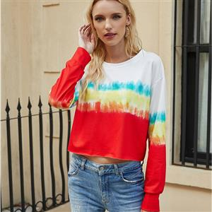 Loose Blouse,Round Neck Casual Blouse,Casual Long Sleeve Blouse, Print Blouses,Women Casual Blouse,Fashion T-shirt,Tie-dye Gradient T-shirt,Round Neck Long Sleeve T-shirt, #N20627