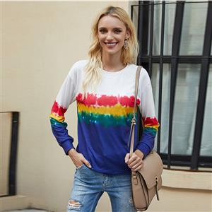 Loose Blouse,Round Neck Casual Blouse,Casual Long Sleeve Blouse, Print Blouses,Women Casual Blouse,Fashion T-shirt,Tie-dye Gradient T-shirt,Round Neck Long Sleeve T-shirt, #N20628