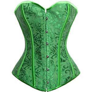 Fashion Green Satin Corset, Halloween Corset, Cheap Jacquard Weave Corset, Elegant Satin Corset,  #N9740