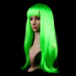 Fashion Green Long Straight Wig, Green Straight Bangs Long Wig, Sexy Masquerade Straight Hair Wig, Fashion Party Long Straight Wig, Long Straight Hair Cosplay Wig, #MS16117