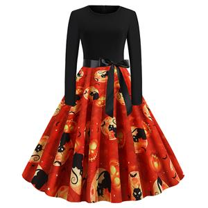 Fashion Halloween Pumpkin and Black Cat Printed Long Sleeve High Waist Belted Party Dress N19627