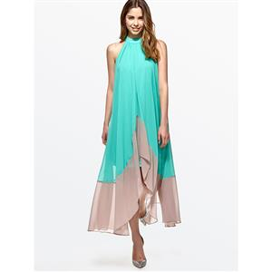 High Neck Maxi Dress, Sleeveless Maxi Dress, Casual Maxi Dress, Maxi Dresses for Women Casual, Patchwork Maxi Dress, Irregular Chiffion Maxi Dress, #N15052