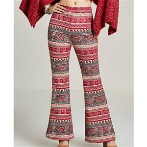 Fashion High Waist Bellbottoms for Women, Full Length Red PrintBellbottoms, Retro Geometric Print Bellbottoms, Women