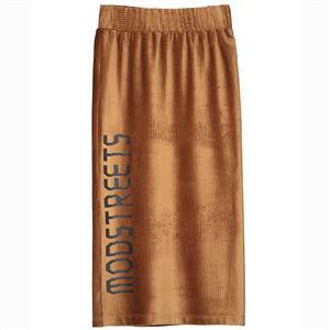 Fashion High Waist Skirt, Letter Print Skirt, Solid Color Skirts for Women, Bodycon Skirt with Slit, Mid-Calf Skirt, Camel Skirts for Women, Elastic Waist Skirt, #N15673