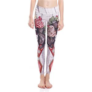 Classical Printed Yoga Pants, High Waist Tight Yoga Pants, Fashion Printed Fitness Pants, Casual Stretchy Sport Leggings, Women