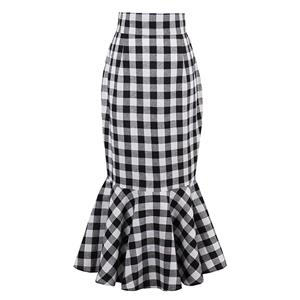 Slim Fishtail Skirt, Plaid Skirt, Casual Skirt,  High waisted Fishtail Skirt, Package Hip Mini Skirts, #N13075