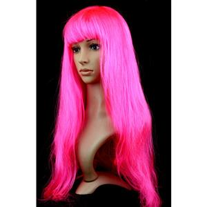 Fashion Hot-Pink Long Straight Wig, Hot-Pink Straight Bangs Long Wig, Sexy Masquerade Straight Hair Wig, Fashion Party Long Straight Wig, Long Straight Hair Cosplay Wig, #MS16118