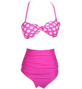 Sexy Hot-Pink Wave Point Swimsuit, Fashion Padded Bra Bikini Set, Cheap Women