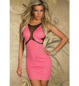 Sexy Sleeveless Mini Dress, See-through Package Hip Dress, Popular Round Neck Party Dress, #N9364