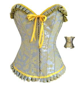Fashion Silver and Yellow Jacquard Ruffles Busk Closure Overbust Corset N10490