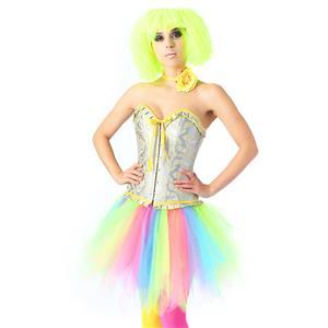 Fashion Overbust Corset Skirt Set, Sexy Corset Skirt Set, Fashion Silver and Yellow Overbust Corset,Sexy Overbust Corset,Sexy Ruffles Corset, Party Corset Sets, Fashion Corset Sets,Women