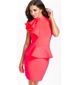 Lady Cocktail Dress. Cheap Pearl-Pink Dress, Ruffles Party Dress, Fashion Office Women