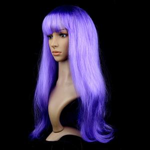 Fashion Light-Purple Long Straight Wig, Light-Purple Straight Bangs Long Wig, Sexy Masquerade Straight Hair Wig, Fashion Party Long Straight Wig, Long Straight Hair Cosplay Wig, #MS16121