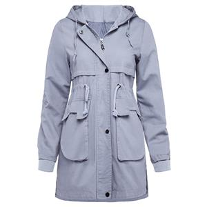 Long Sleeve Coat, Zipper Hooded Coat, Pocket Coat, Fashion Coat for Women, Jacket with Pockets, Drawstring Waist Jacket, #N15307