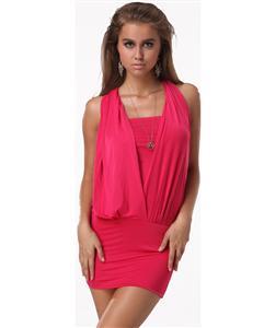 Waterfall Front Halter Clubwear, Fashion Mini Clubwear, Halter Clubwear, #N5562