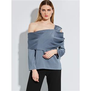 One Shoulder Top, Slim Polyester Shirt, One Shoulder Blouse, Sexy Crop Top, Sexy One Shoulder Blouse Top, Sexy Blouse for Women, #N14255
