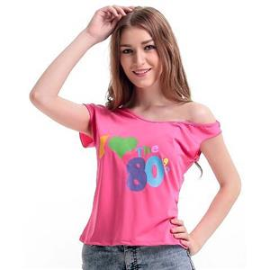 Fashion Pink Heart Pattern One Strap Tops N10946