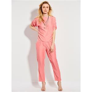 Plain PinkPant Set, Pant Set for Women, Slash Neckline Pant Set, Slim Plain Pant Set, Half Sleeve Pant Set, Fashion Pant Set for Women, #N15054