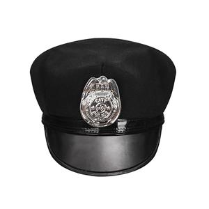 Police Masquerade Party Costume Hat,Halloween Cosplay Costume Hat, Black Police Cap ,Fashion Party Costume Hat Accessory, Fancy Fashion Adult Roleplay Hats, Fashion Costume Hat, #J20909