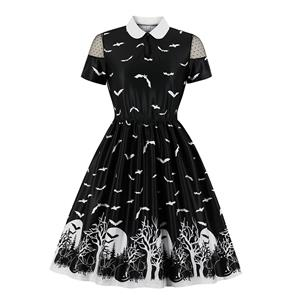 Sexy Halloween Party Dress, Fashion Casual Halloween Midi Dress, Sexy Party Dress, Retro Party Dresses for Women 1960, Vintage Printed Dresses 1950