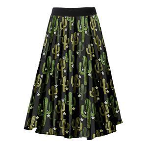 Fashion Casual Cactus Printing Longuette High Waist A-Line Skirt N18794