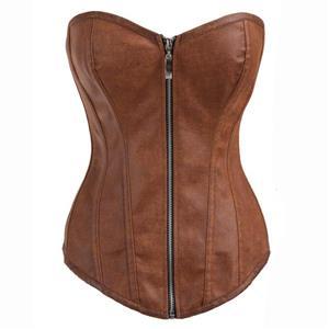 Fashion Punk Style Brown PU Zipper Overbust Corset N10325