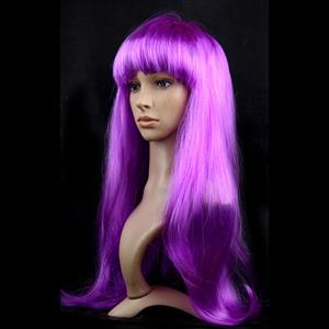 Fashion Purple Long Straight Wig, Purple Straight Bangs Long Wig, Sexy Masquerade Straight Hair Wig, Fashion Party Long Straight Wig, Long Straight Hair Cosplay Wig, #MS16120