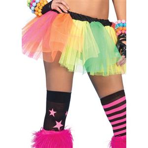 Ballet Dance Tutu, Rave Party Costume, Multi Rainbow colors Skirt, Fashion Rainbow Tail Fluffy Organza Petticoat, #HG9353