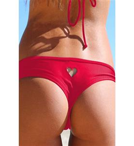 Fashion Red Heart Cut Out Thong Bikini Swimsuit BK10535