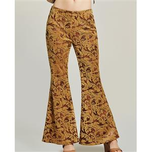 Fashion Print Bellbottoms for Women, Full Length Brown Bellbottoms, Retro Gold Embroidery Long Bellbottoms, Women