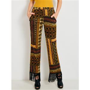 Print Pants, Full Length Pants, Retro Pants, Tassel Pants, Fashion Pants, Colorful Pants, Pants for Women, Pocket Pants, Slim Pants, #N15419