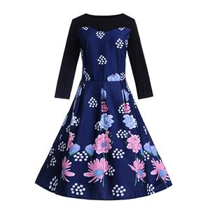 Fashion Flower Print Dresses for Women, Sexy Dresses for Women Cocktail Party, Vintage High Waist Dress, Flower Patterns Dress, Long Sleeves Swing Daily Dress, Vintage Floral Print Swing Dress, Long Sleeves Evening Dress, #N18290
