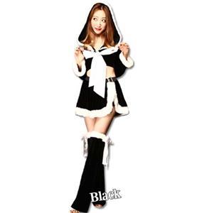 Fashion Black Christmas Pantskirt, Cheap Black Short Christmas Tops, Comfortable Black Christmas Outfit, #XT9802