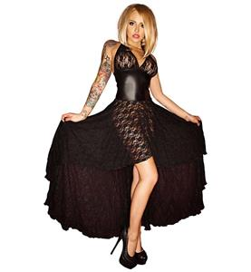 Sexy Long Gown, Fashion Black Lace Gown, Cheap Hi-lo Gown, Crazy Party Long Gown, #N10518