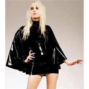 Plus Size Dress, PVC Dress, Black Mini Dress, Catwalk Dress, Fashion Black Dress, Night Club Dress, #N10995